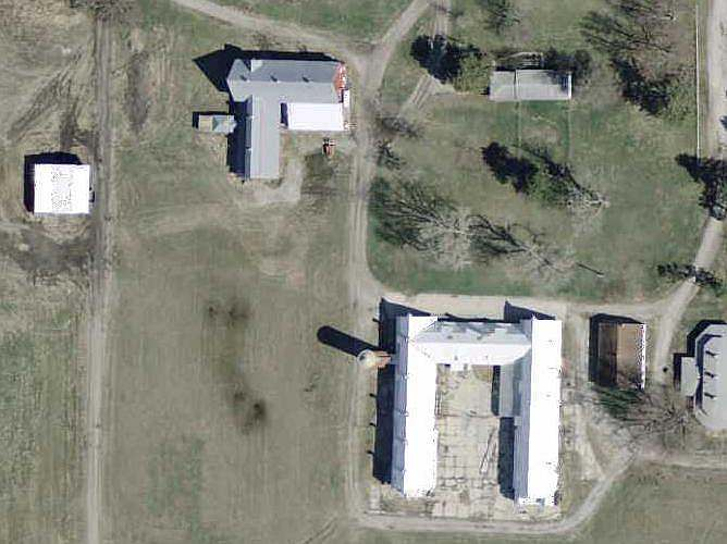 Arial view of ISU Dairy Barns.