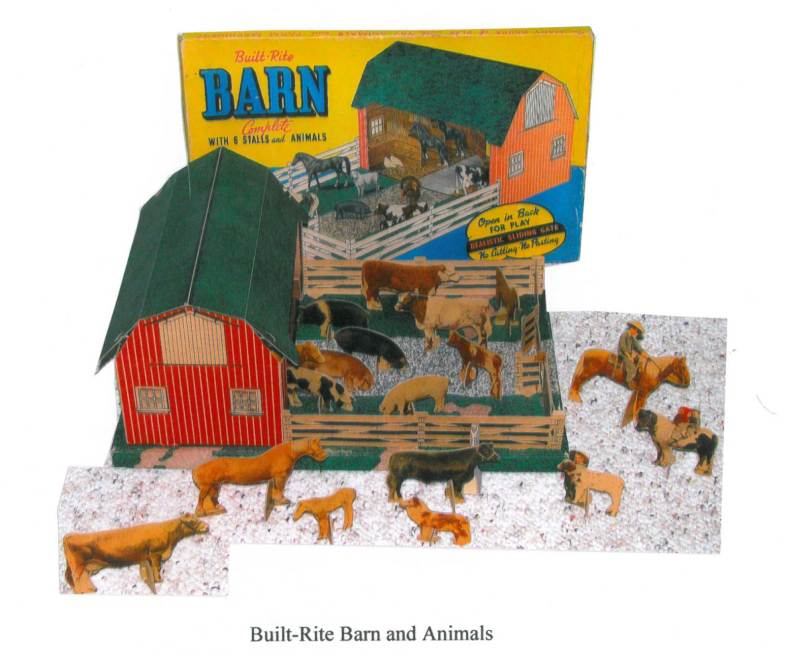 Paperboard toy barns.