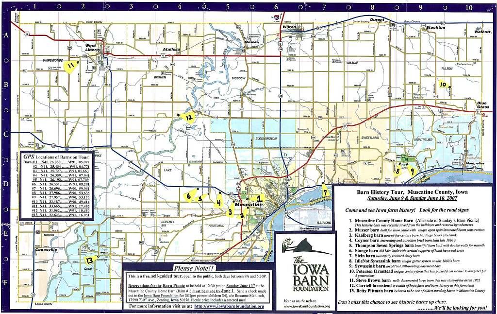 Muscatine County Map Showing Barn Locations